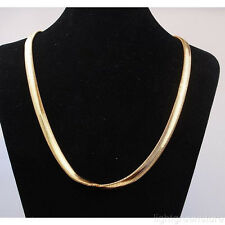 "18K Yellow Gold Filled Mens/Womens Necklace Herringbone Chain 23.6"" Xmas Gift"