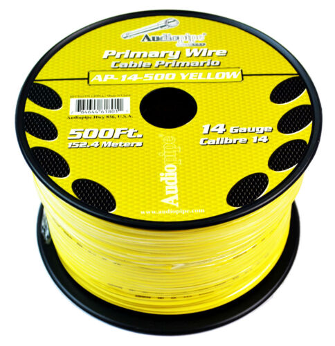 Audiopipe Yellow 500/' Feet 14 Gauge Car Primary Power Cable Remote Wire Lead