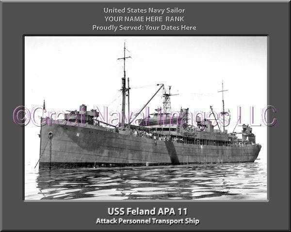 USS Feland APA 11 Personalized Canvas Ship Photo Print Navy Veteran Gift