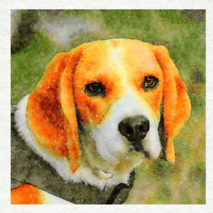 Beagle Dog. Watercolour Print, Fabric Cushion / Upholstery Craft Panel