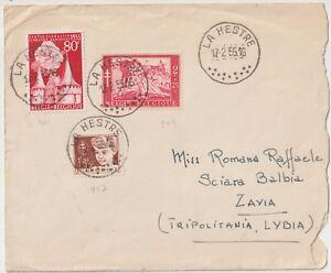 BELGIO-1955-LETTERA-MULTI-AFFRANCATA-DA-LA-HESTRE-PER-TRIPOLITANIA-LIBIA
