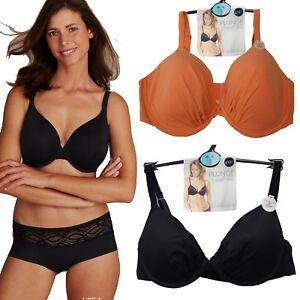9883c8dea9 Ex M S Ladies 2 Pack Padded Underwired Plunge T-Shirt Bras Black ...