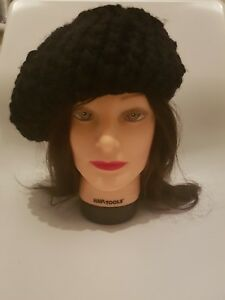 Image is loading ATMOSPHERE-Womens-Black-Chunky-Knit-Beret-Floppy-French- d7f9657906a