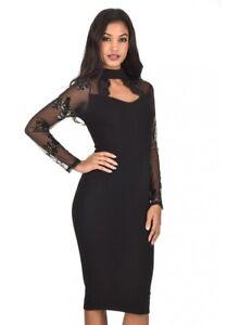 01c79e3841a Details about AX Paris Women Black Midi Dress Sequined Mesh Long Sleeves  Choker High Neck