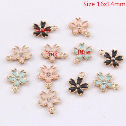 DY060# 50Pcs//set Enamel Alloy Flower Charm Pendant jewelry accessory 16x14mm