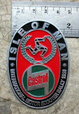 Vespa Placca Badge Plakette CASTROL VINTAGE ADS not NOS ISLE OF MAN 1958