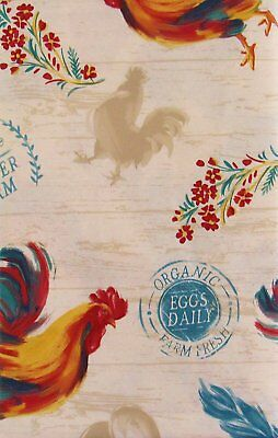 Organic Farm Fresh Roosters and Eggs vinyl flannel back tablecloth 52 x 90