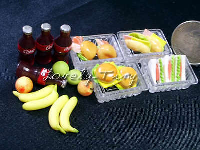 Dollhouse Minature: Lunch Box with Coke,Fruits for 4