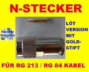 Neu-N-Stecker-RG-213-Loetversion-mi-Goldstift