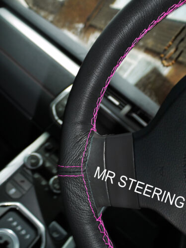 Pour nissan micra 92-03 noir volant en cuir couverture rose chaud double stitch