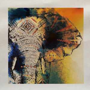 Elephant decrotive - Printed Fabric Panel Make A Cushion Upholstery Craft