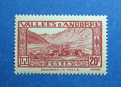 1932 Andorra French 20f Scott# 63 Michel # 47b Unused Nh Cs26488 Perfect In Workmanship Europe