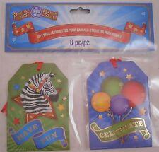 CIRCUS Gift Tags Circus Party Ringling Bros Barnum Circus CLOWN BIG TOP 8pc MINT