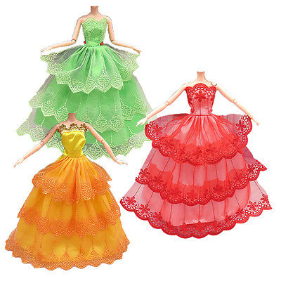 3Pcs Handmade Party Doll Princess Dress Clothes Gowns For Barbie Christmas Gift