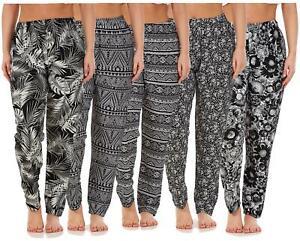 Ladies-Women-Trouser-Elasticated-Printed-Tapered-Harem-High-waist-Regular-Pants