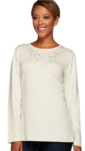 NWT QUACKER FACTORY RHINESTONE AND STUD FRENCH TERRY LONG SLEEVE TOP OATMEAL