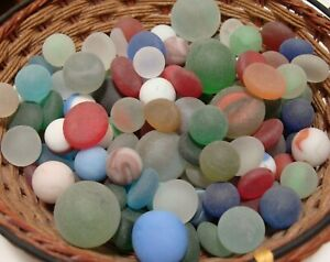 140 Vintage Glass Sea Beach Marbles/Pcs Frosted Display Arts Crafts Colorful #9