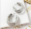 Simple-3-Cercle-Argent-Or-Plaque-Charme-Cuff-Statement-Ear-Stud-Big-Boucles-d-039-oreilles miniature 5