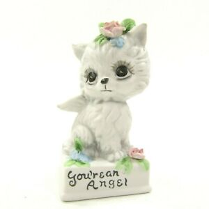 Vintage-Josef-Originals-You-039-re-An-Angel-White-Cat-Kitten-Figurine-Pet-Memorial