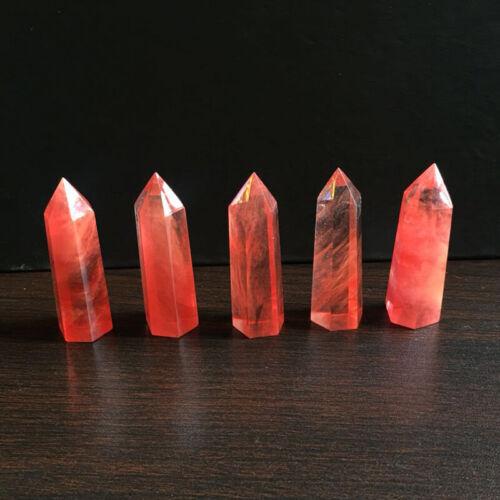 40-50MM Red Smelting Quartz Crystal Point Healing Obelisk Hexagonal Wand Reiki