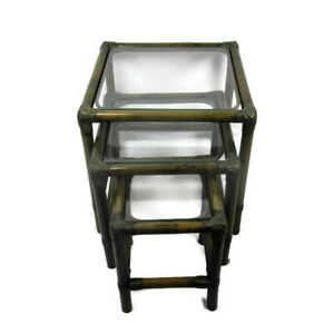 Set-of-3-Vintage-Nesting-Coffee-Side-Tables-Faux-Bamboo-Rattan-Lounge
