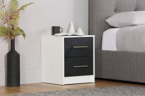 2 Drawers Bloomsbury White /& Grey Gloss Bedside Cabinet