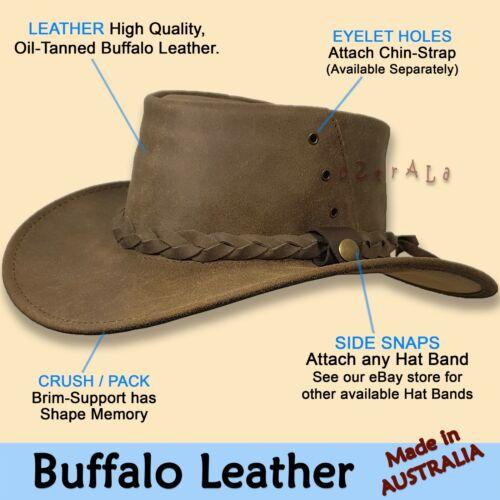 ~oZtrALa~ HAT Australian BUFFALO Leather Fedora Men/'s Women/'s Band Cowboy JACARU