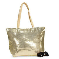 Free Shipping Gold Large Sequin Purse Handbag Tote With Pocket Zipper