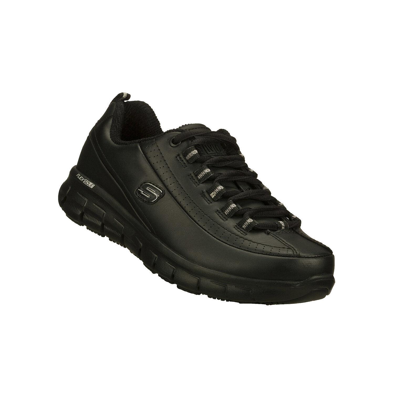 Skechers Sure Track Trickel Black Leather Work shoes Women's Women's Women's Size 9W 087d7e