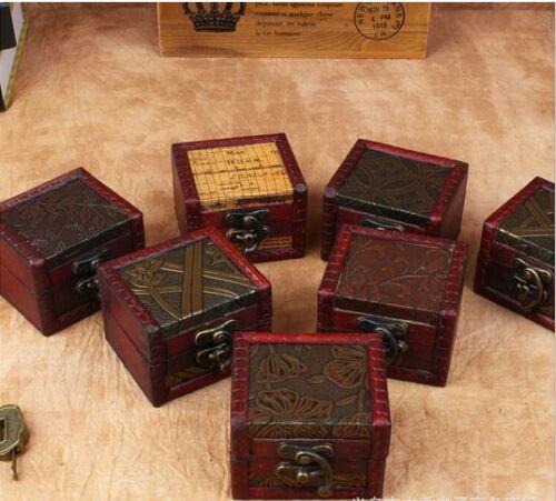 New Retro Vintage Golden Style Flower Wooden Small Jewelry Storage Box Case UK