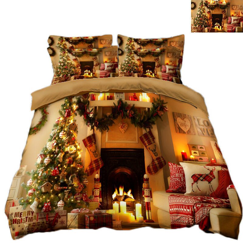 3D Christmas Xmas Warm 84 Bed Pillowcases Quilt Duvet Cover Set Single Queen UK