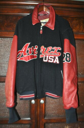 Vintage 90s Avirex USA Mens 3XL Red Black  Wool Le