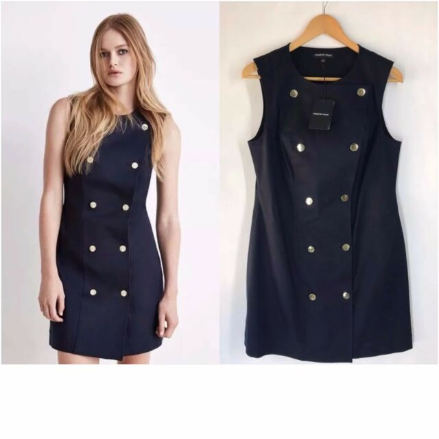 COUNTRY ROAD [CR LOVE] NEW! SZ 10,12,14,16 DOUBLE BUTTON DRESS NAVY (S,M,L,XL)