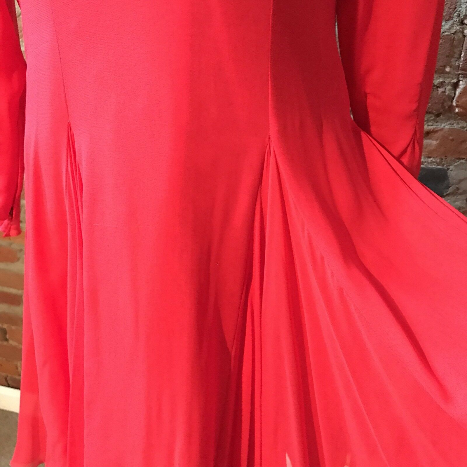 Vintage Travilla Red Silk Chiffon Dress Cocktail … - image 4