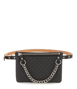 NWT Michael Kors Logo PVC Pull Chain Belt Bag Size Large Belt Black ... 545343460b2a4