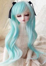 "1/3 8-9""LUTS Pullip SD BJD Doll Blythe Dollfie Wig Long Light Blue Hair"