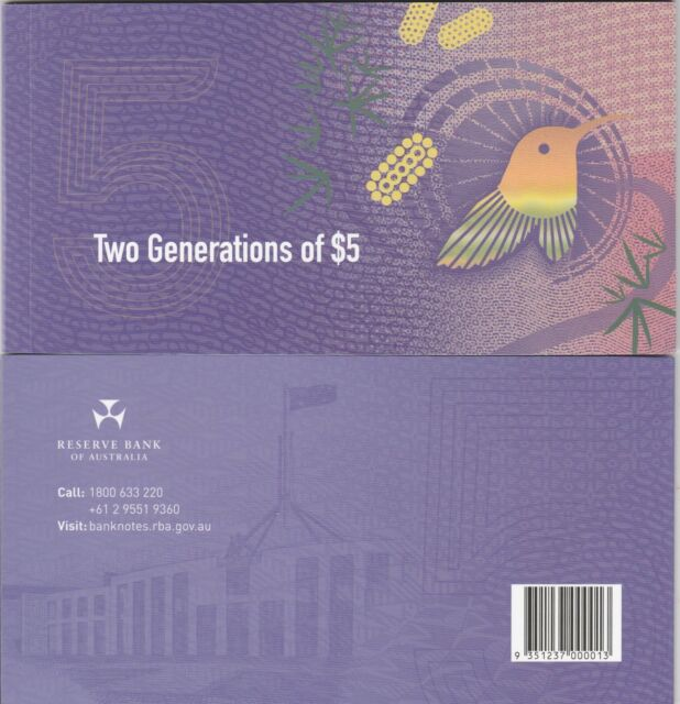 Australia  2016  Two Generations Of $5.00 Note  2015 & 2016 $5.00 notes  item22