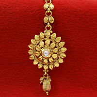 Gold Plated Traditional Bollywood Maang Tikka Head Piece Matha Patti Jewelry