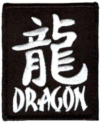 """YEAR of the DRAGON PATCH 3/""""x2.5/"""" chinese letter script iron on black//white biker"""