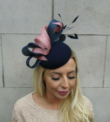 Navy Blue Blush Pink Light Dusky Pink Feather Fascinator Pillbox Hat Wedding U1y