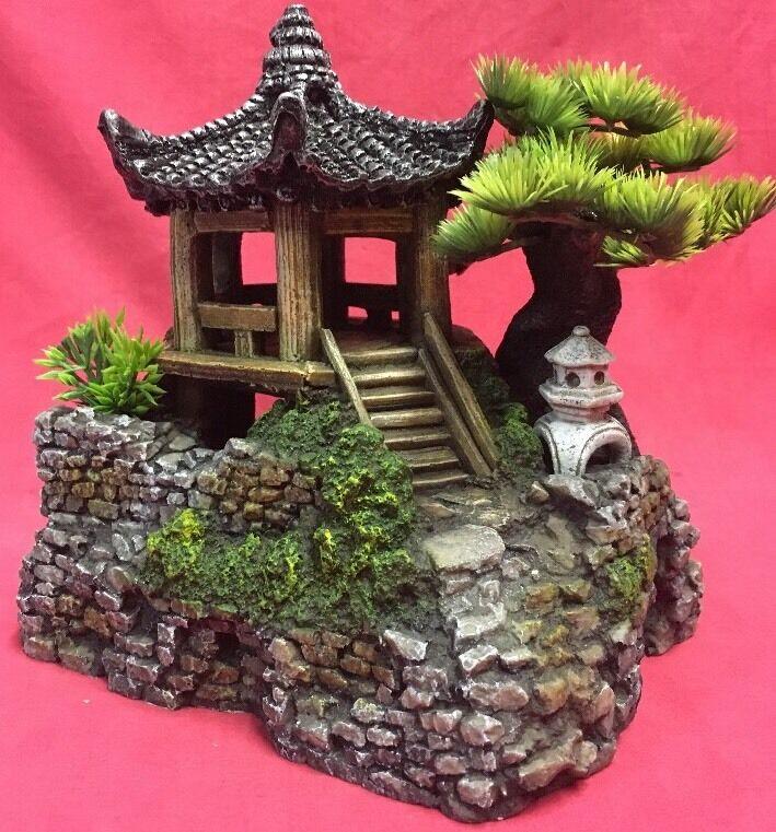 Rettili Terrario Ornamento asiatico ZEN PAGODA Orientale Casa Decorazione Serbatoio 8 x 9