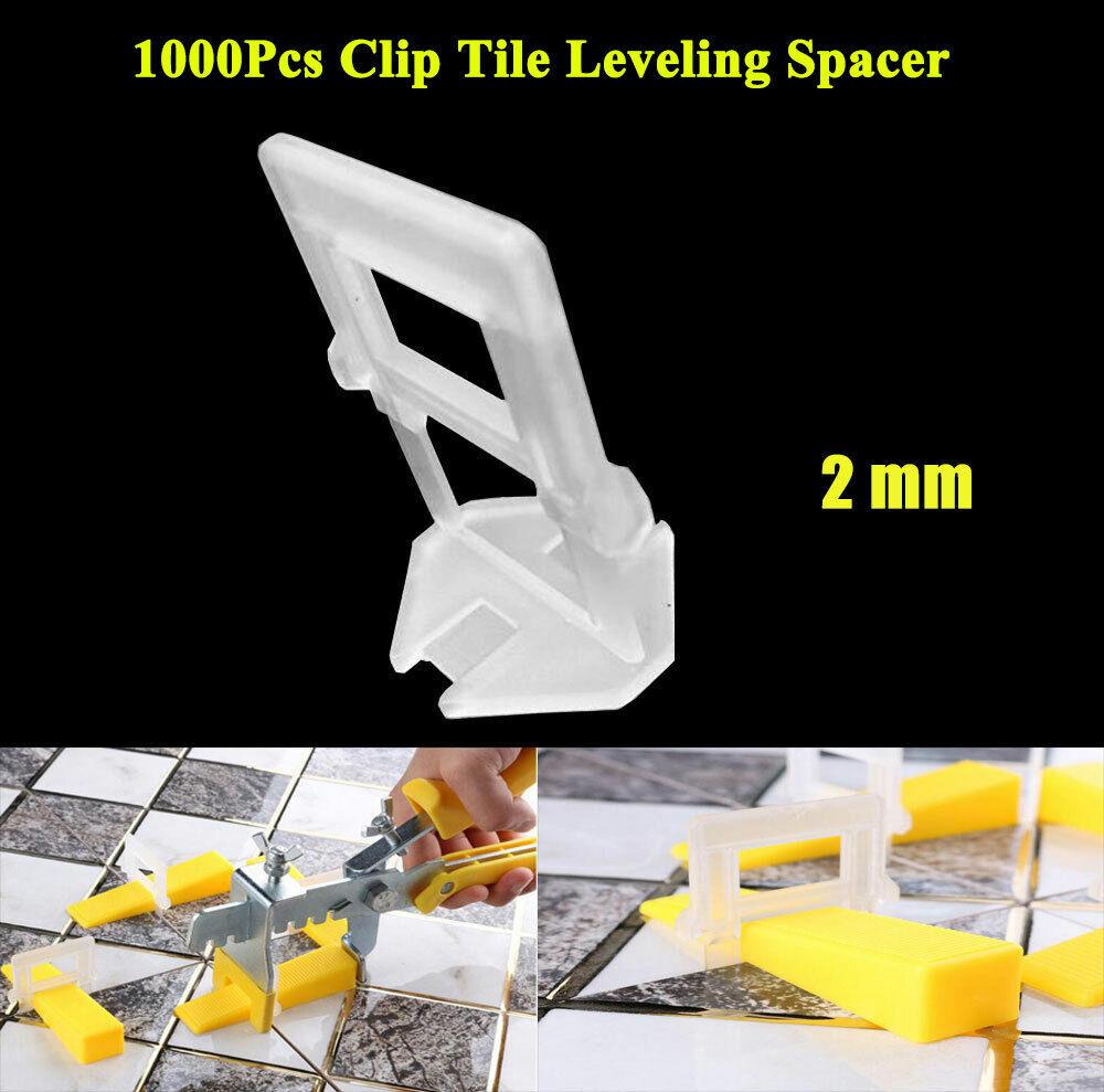 1000Pcs Clip Tile Leveling System Kit Floor Wall 2mm Tile Spacer Tiling Tool US