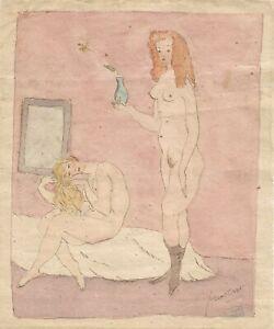 Jules-PASCIN-Dessin-original-signe-Aquarelle-Scene-erotique-de-bordel