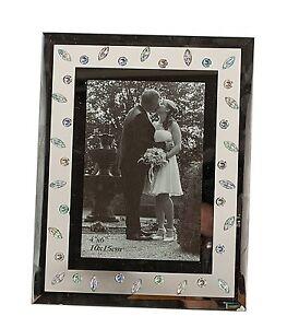 moderner bilderrahmen fotorahmen aus glas silber 23x18 cm f r bilder 10x15 cm ebay. Black Bedroom Furniture Sets. Home Design Ideas