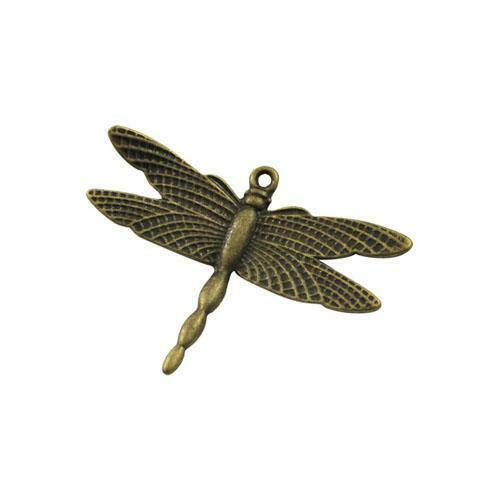 Dragonfly encanto colgante tibetano Steampunk Bronce Antiguo//36mm 5 encantos Crafts