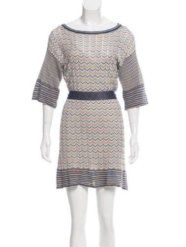 M MISSONI KNITTED Mini DRESS Blue Tan Zigzag STRIP