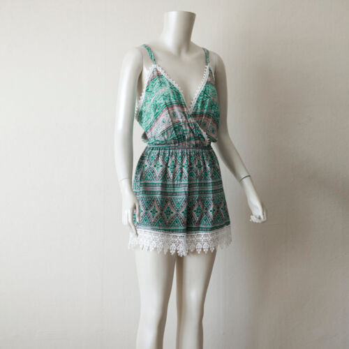 Green Tribal Print Surplice Neck Sleeveless Romper// Medium