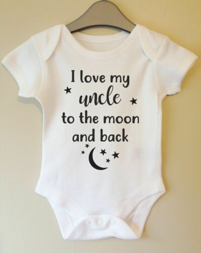 I LOVE MY UNCLE TO THE MOON AND BACK CUTE BROTHER BABY BODY VEST BABY GRO