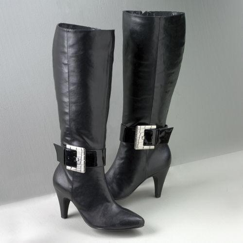 BRAND NEW WOMENS BIJOU NEW YORK BLACK EVA BUCKLE BOOTS SIZE 8.5 W