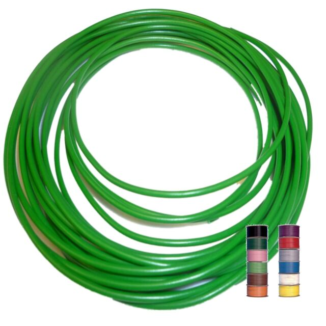 GREEN (+ 11 TRACERS) - THINWALL 1mm2 Automotive Cable /Wire 16.5A – per 5 metres